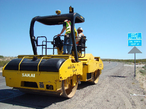 A sakai intelligent compaction roller in the field during a mini demo in Texas in 2010